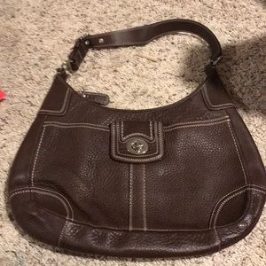 Coach brown pebble leather purse